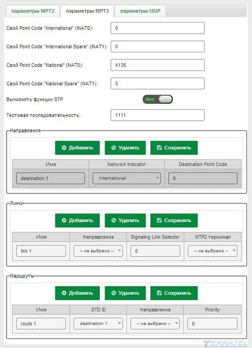 Web-интерфейс TERRATEL SIP/E1 Gateway - конфигурация и параметры