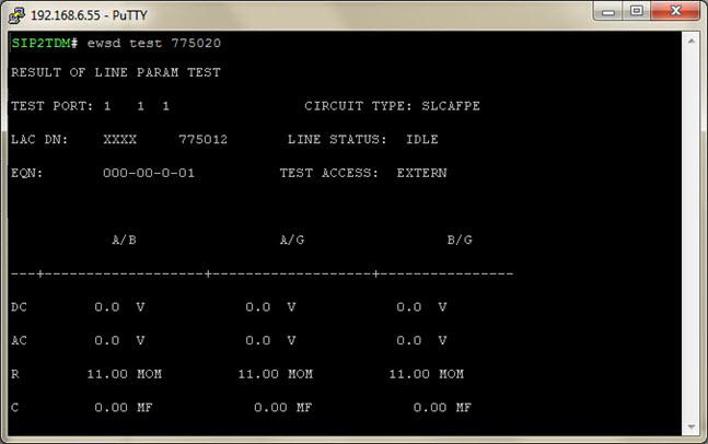Результат выполнения измерений и тестов абонентской линии АТС EWSD