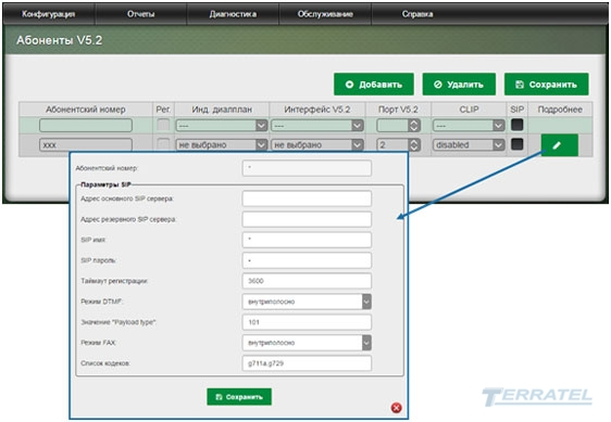 Web-интерфейс SIP/E1 Gateway - Абоненты V5.2